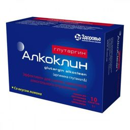 Глутаргин алкоклин, 1 г, порошок для приготовления раствора для приема внутрь, лимонные(ый), 3 г, 10 шт.