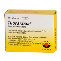 Тиогамма, 600 мг, таблетки, покрытые пленочной оболочкой, 30 шт.