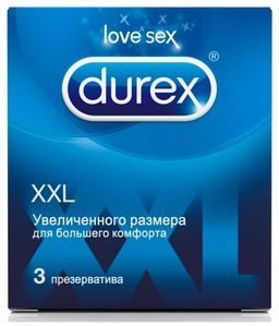 Презервативы Durex XXL, увеличенный размер, презерватив, гладкие, 3 шт.