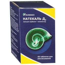 Натекаль Д3, 400 МЕ+600 мг, таблетки для рассасывания, 60 шт.