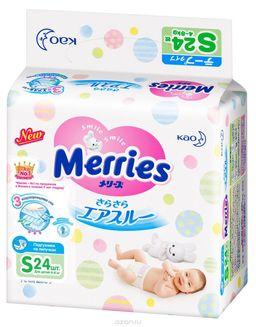 Подгузники детские Merries, 4-8 кг, р. S, 24 шт.