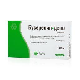 Бусерелин-депо, 3.75 мг, лиофилизат для приготовления суспензии для внутримышечного введения пролонгированного действия, 1 шт.
