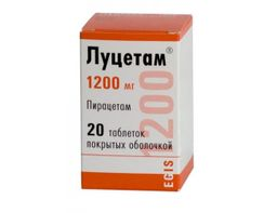 Луцетам, 1200 мг, таблетки, покрытые оболочкой, 20 шт.