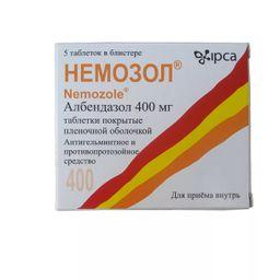 Немозол, 400 мг, таблетки, покрытые оболочкой, 5 шт.