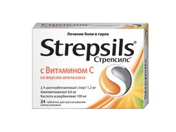 Стрепсилс с Витамином C, таблетки для рассасывания, со вкусом или ароматом апельсина, 24 шт.