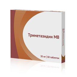 Триметазидин МВ, 35 мг, таблетки пролонгированного действия, покрытые пленочной оболочкой, 30 шт.