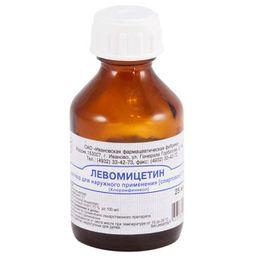 Левомицетина раствор спиртовой, 3%, раствор для наружного применения спиртовой, 25 мл, 1 шт.