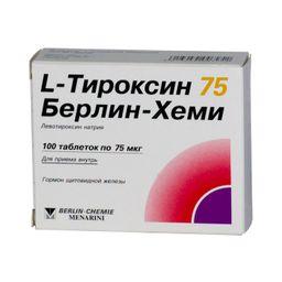 L-Тироксин 75 Берлин-Хеми, 75 мкг, таблетки, 100 шт.