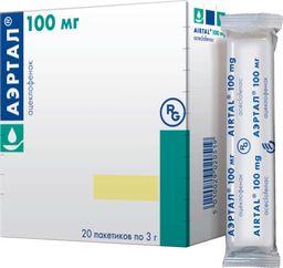 Аэртал, 100 мг, порошок для приготовления суспензии для приема внутрь, 3 г, 20 шт.