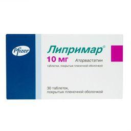 Липримар, 10 мг, таблетки, покрытые пленочной оболочкой, 30 шт.