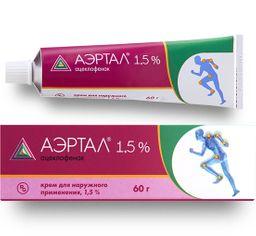 Аэртал, 1,5%, крем для наружного применения, 60 г, 1 шт.