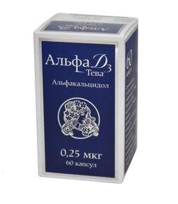 Альфа Д3-Тева, 0.25 мкг, капсулы, 60 шт.