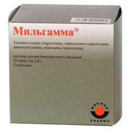 Мильгамма, 100 мг+100 мг+1 мг/2 мл, раствор для внутримышечного введения, 2 мл, 25 шт.
