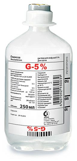 Глюкоза (для инфузий), 5%, раствор для инфузий, 250 мл, 1 шт.