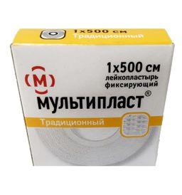 Мультипласт лейкопластырь фиксирующий, 1х500см, пластырь медицинский, 1 шт.