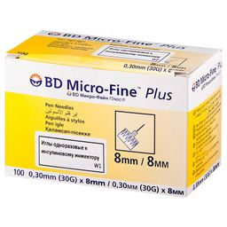 Игла одноразовая к инсулиновому инжектору BD Micro-Fine Plus, 30G(0.30х8)мм, 100 шт.