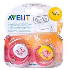 Соски-пустышки Philips Avent I love milk, (86175) SCF172/50, 0-6 мес., из силикона (силиконовый), 2 шт.