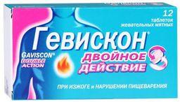 Гевискон Двойное Действие, таблетки жевательные, мятные, 12 шт.