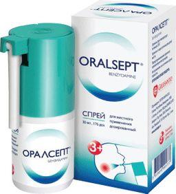 Оралсепт, 0.255 мг/доза, спрей для местного применения дозированный, 30 мл, 1 шт.
