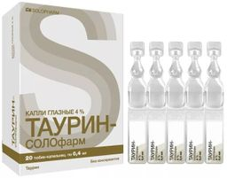 Таурин-СОЛОфарм, 4%, 4 %, капли глазные, 0,4 мл, 20 шт.